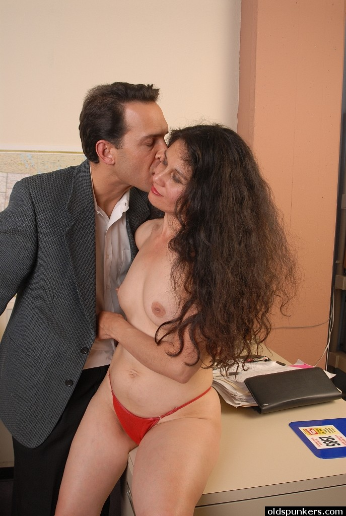 mature office worker carmen taking cumshot on ass after doggystyle