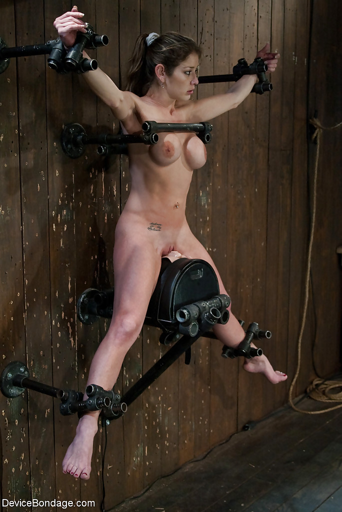 Busty forced device bondage