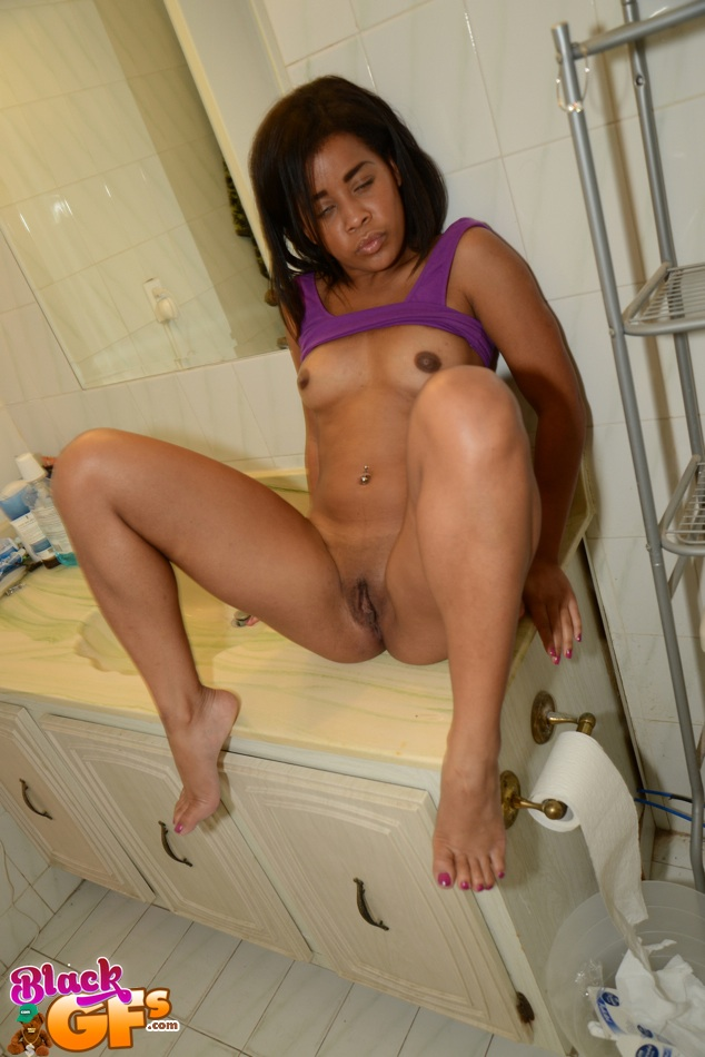 Skinny Black Teen Stripping And Masturbating