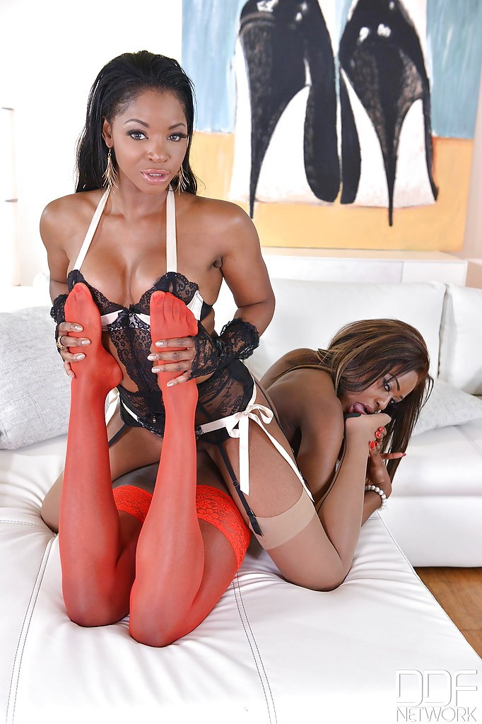 ... Ebony lesbians Maria Ryder and Jasmine Webb tongue kissing in stockings  ...