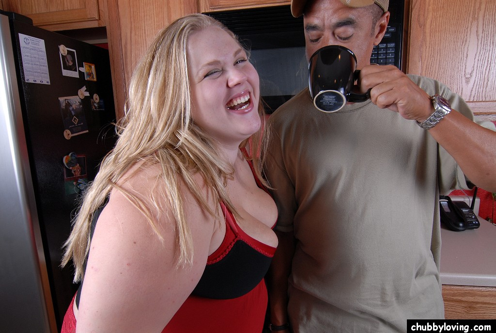 fat blonde interracial - ... Interracial BBW sex with blonde fatty Christina taking cumshot in  kitchen ...