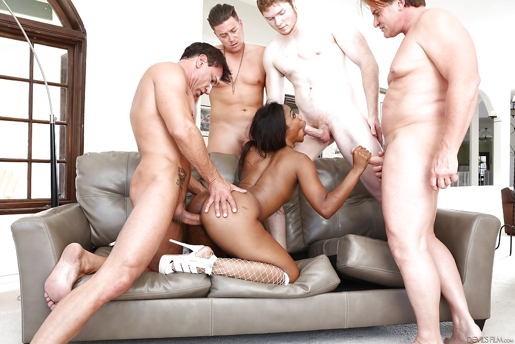 Ebony wife gangbang