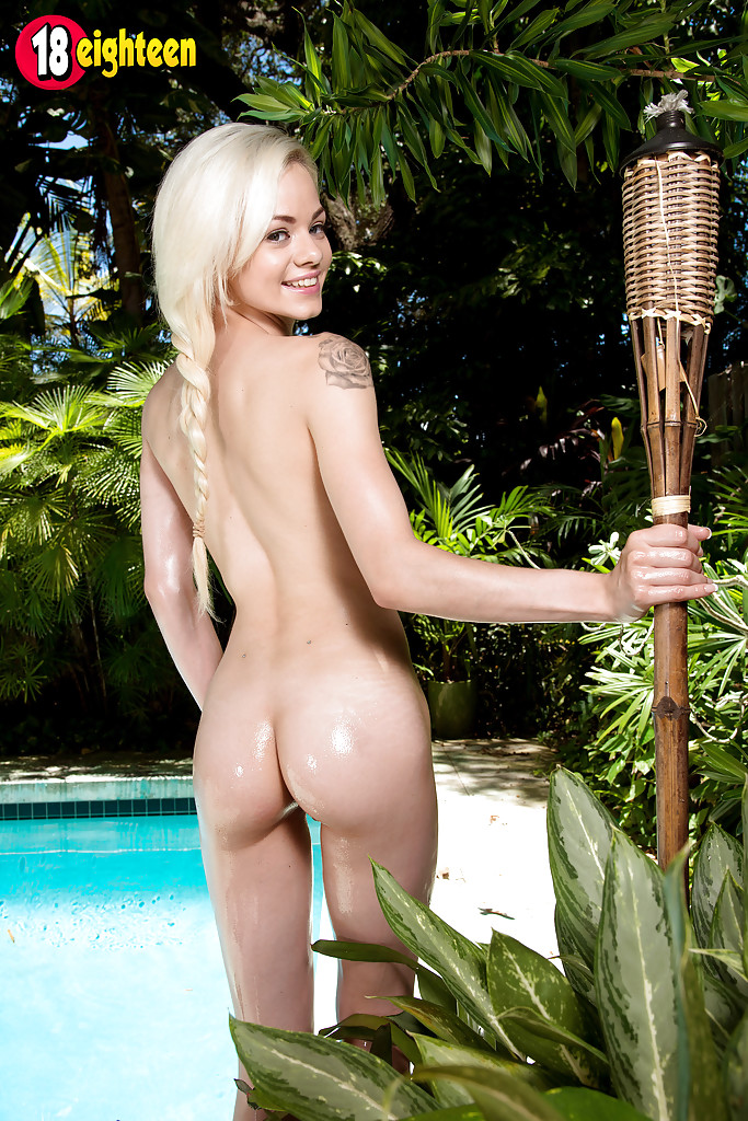Year Old Blonde Pornstar Elsa Jean Baring Teen Pussy Outdoors By Pool
