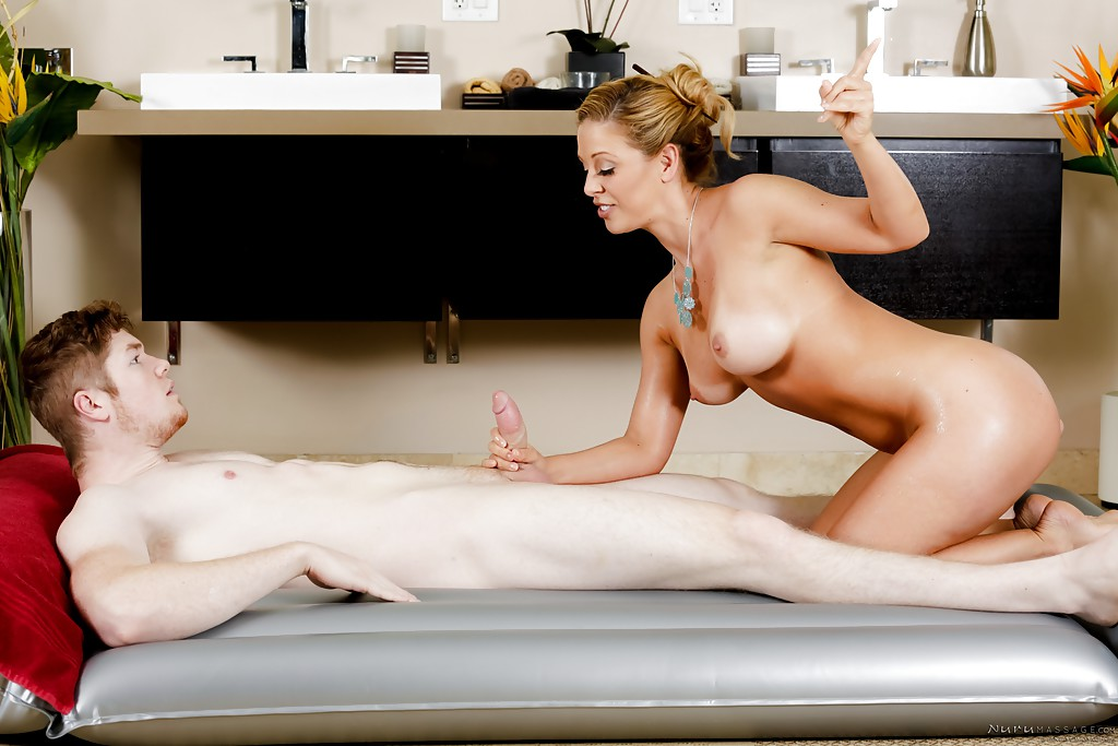 ... Busty MILF massagist Cherie DeVille rubbing oil and shaved cunt against  man ...