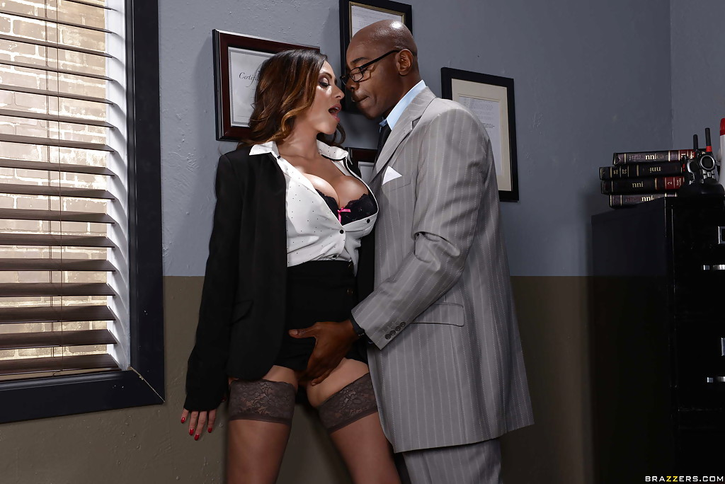 Interracial oral sex in the office