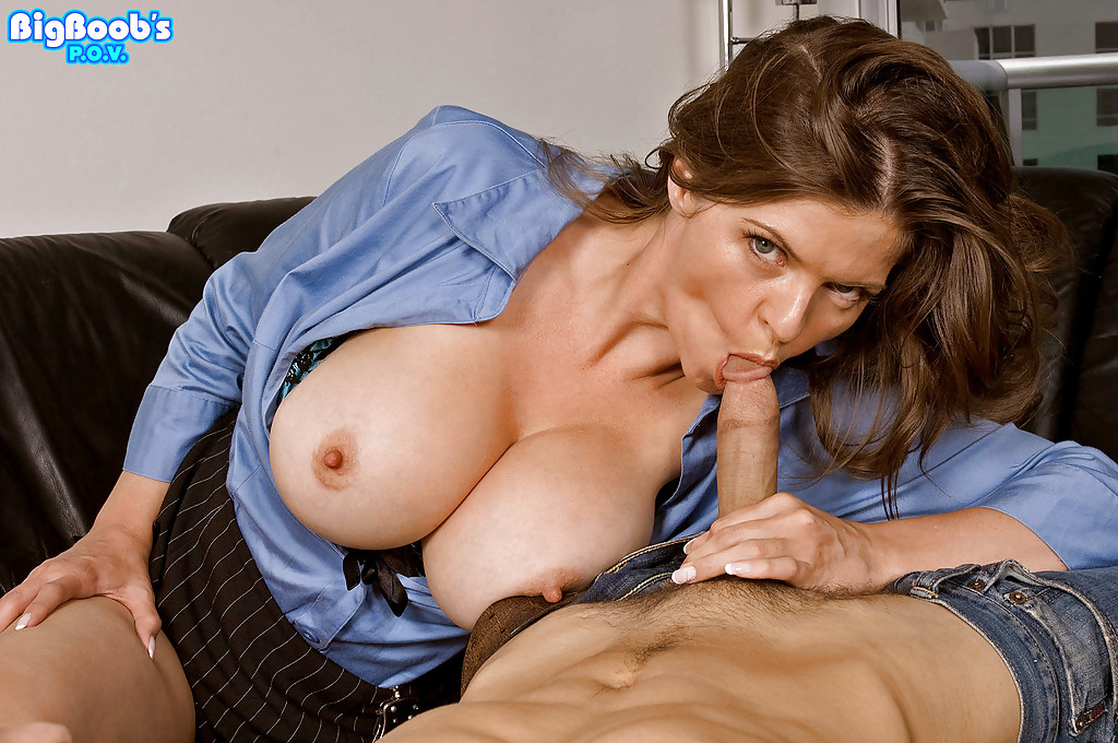 Busty mom handjob