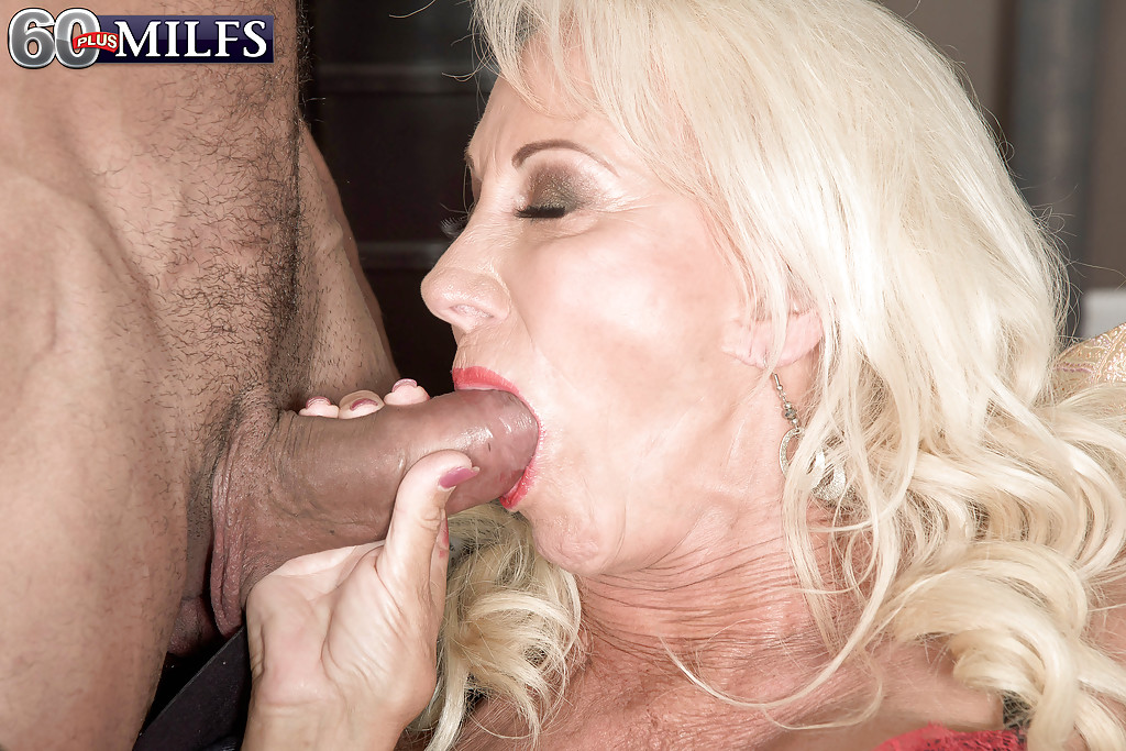 Blonde mature cock bj