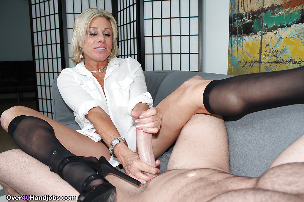 Nylon handjob big dick
