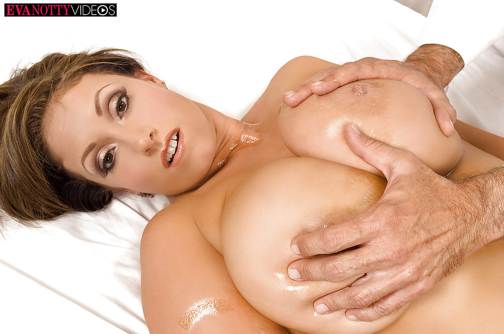 ... Busty MILF Eva Notty having big tits and nipples oiled on massage table  ...