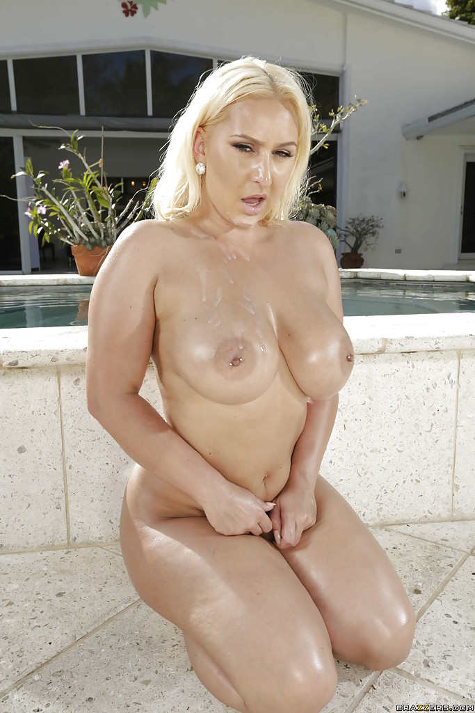 ... Busty Euro blonde Nina Kayy having big ass oiled for outdoor anal sex