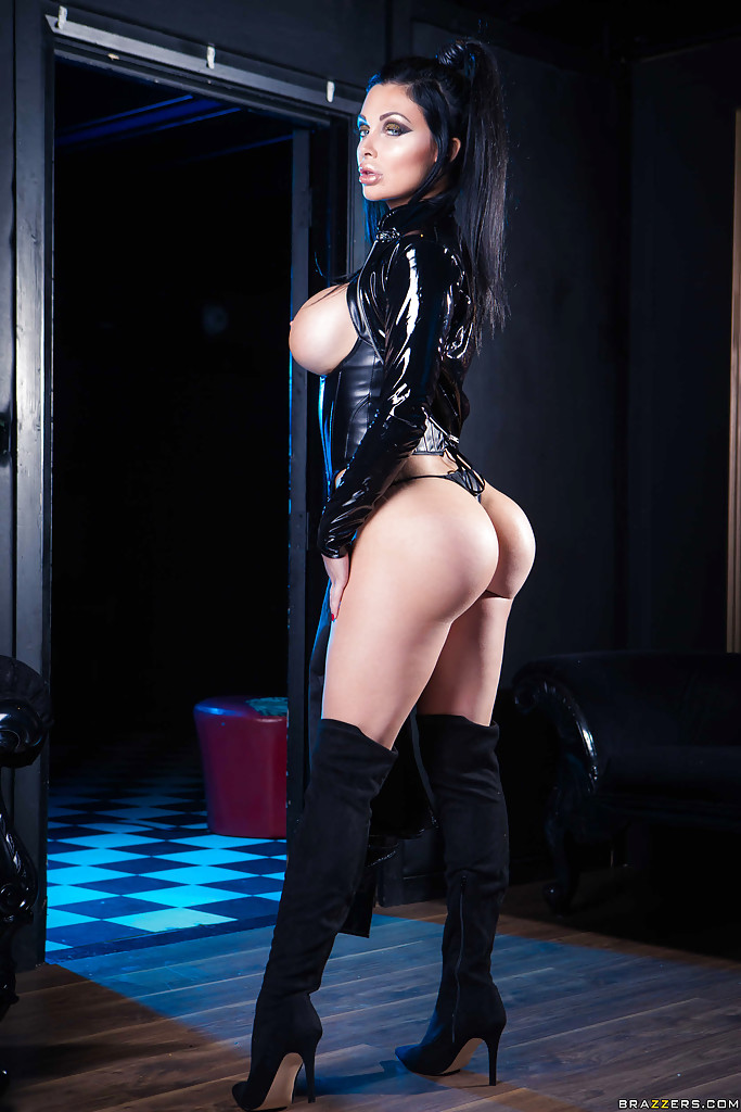 Brunette babe Aletta Ocean posing for fetish shoot in ...