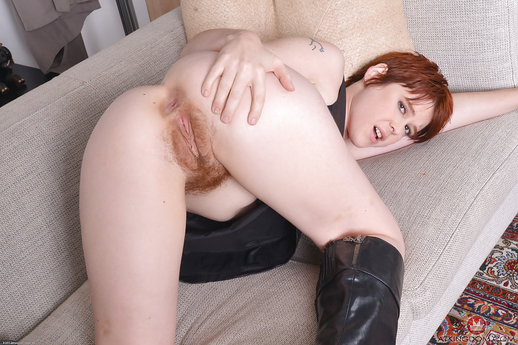 Redhead milf lily cade spreading hairy pussy in leather