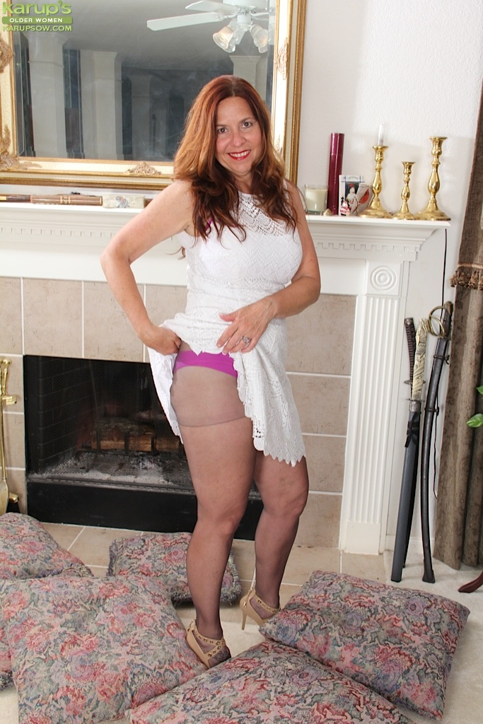 Raised skirt milf