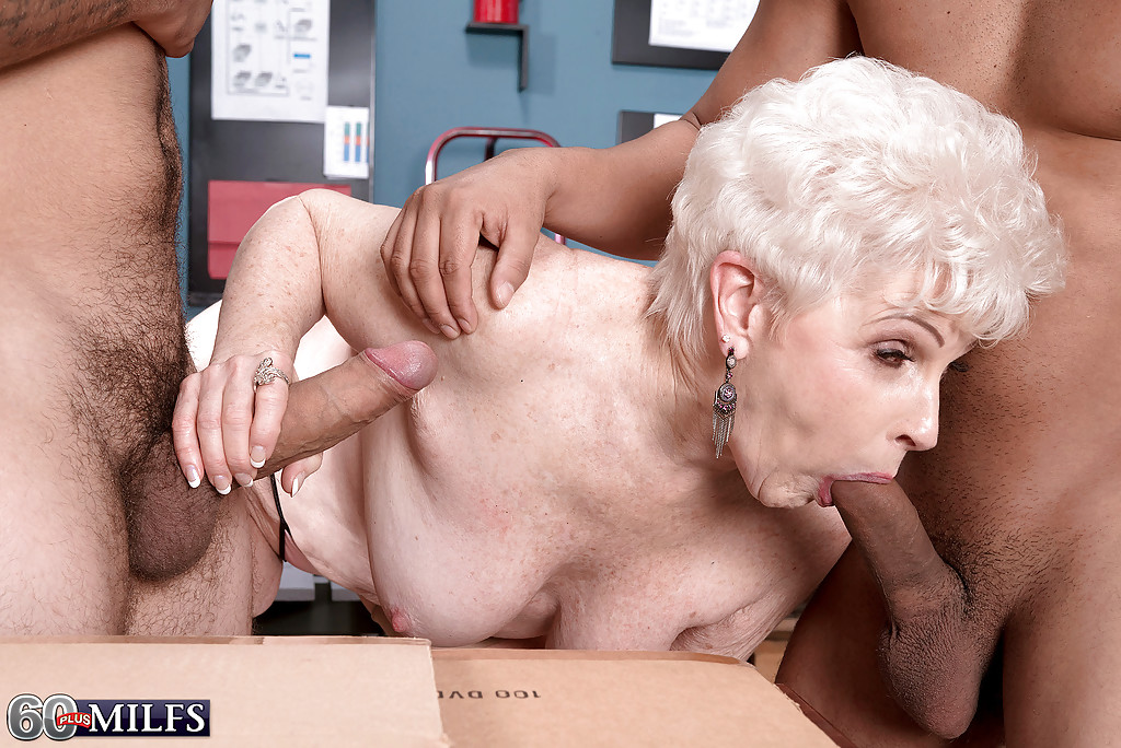 ... 60 plus blonde granny gives big cocks blowjobs in office threesome ...