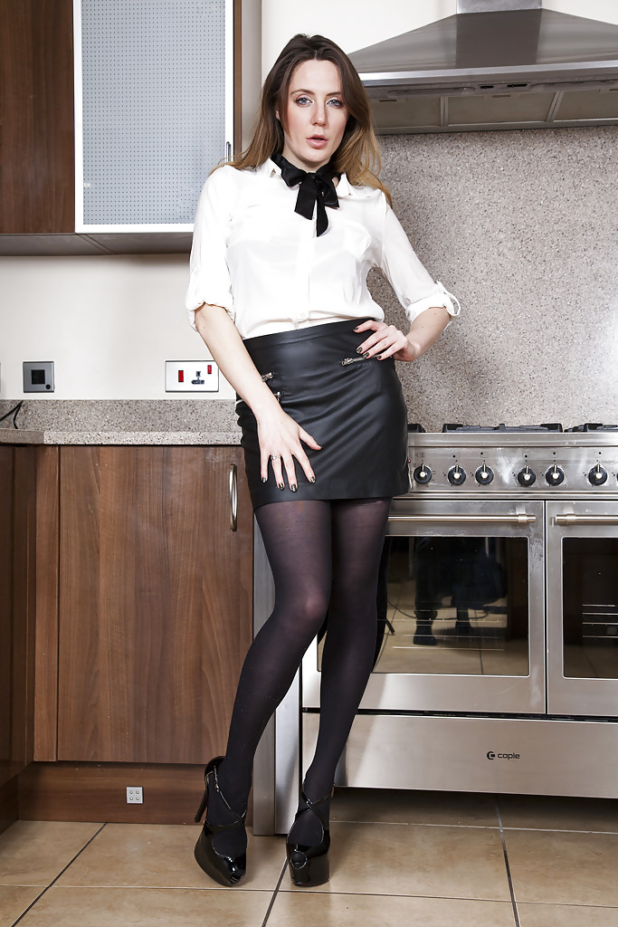 Women leather in black skirts mature