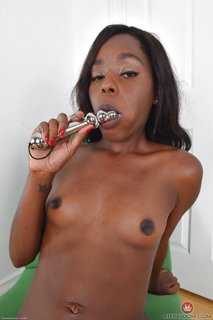 Ebony with shaved pussy masturbating photo 380