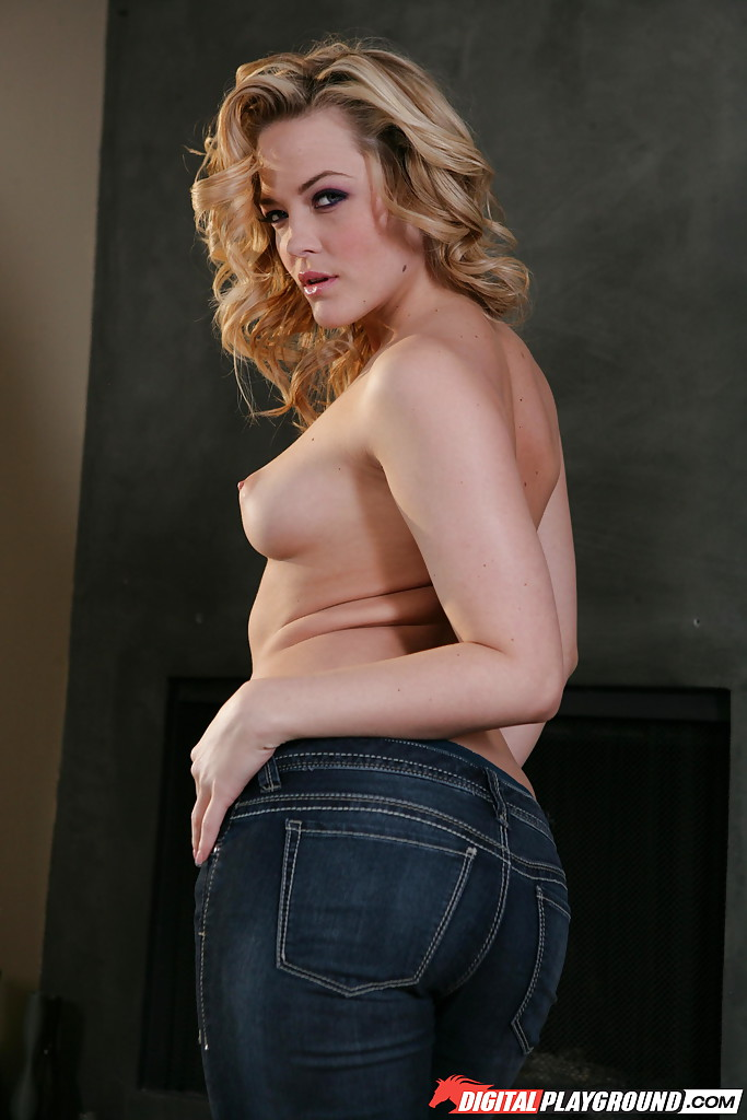 Blonde babe in denim jeans revealing firm tits and phat ass in high heels