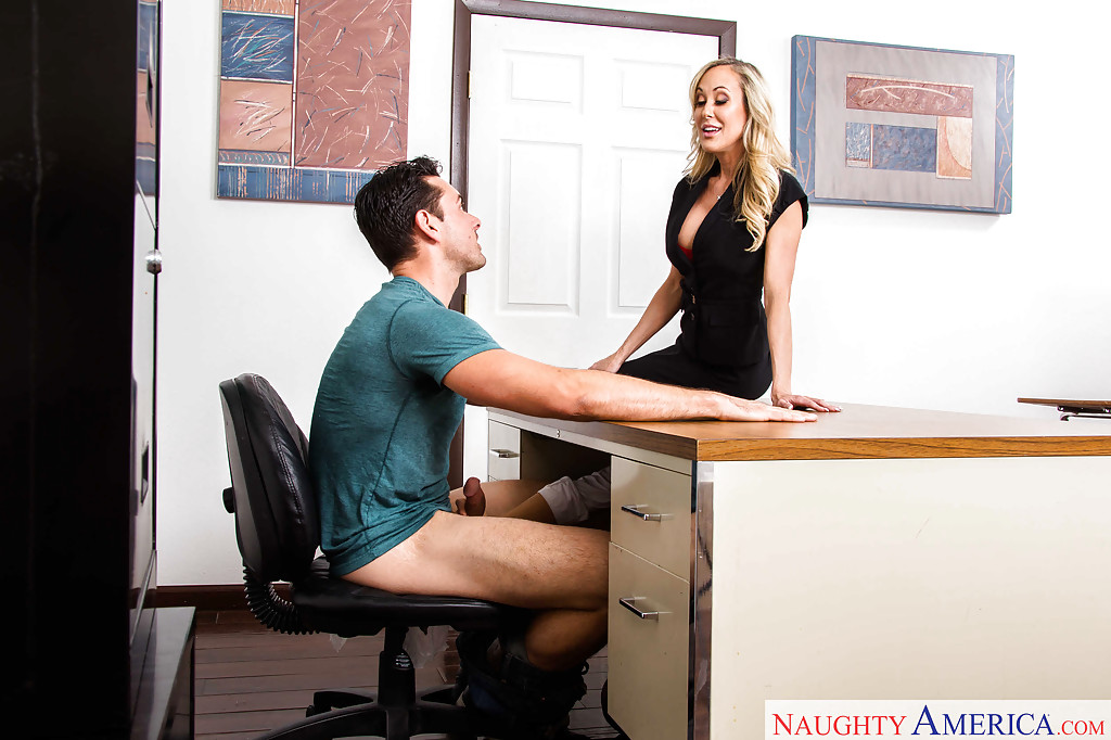 Brandi Love Is A Horny Secretary - ... Horny moms Brandi Love and Nicole Aniston giving 3some blowjob in office  ...