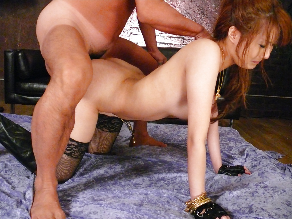 image Stocking clad asian with nice nipples on her crazy bolt ons