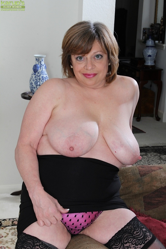 ... Thick older woman Kathy Gilbert exposing large boobs in stockings ...