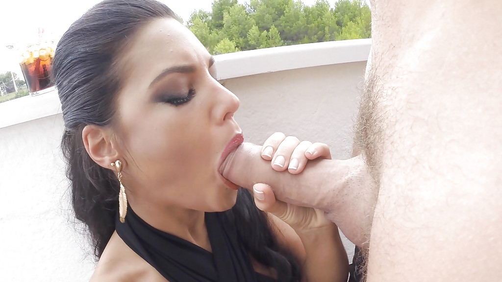 brunette girlfriend licking big cock with tongue during