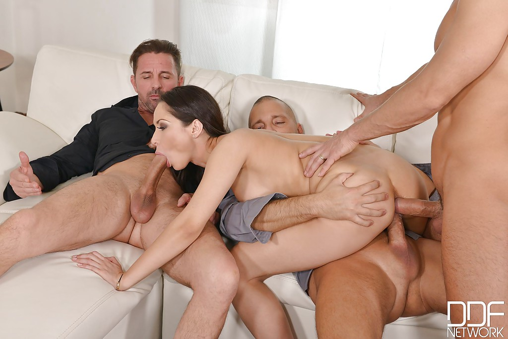 Euro brunette Aurelly Rebel gangbanged in all 3 holes with blowbang finish