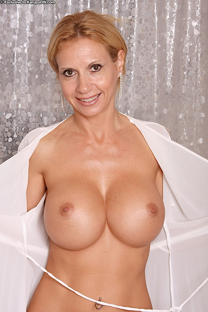 with fake tits woman Older big