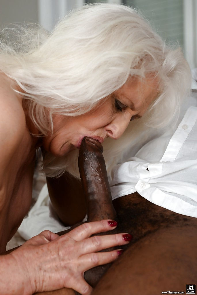 overweight granny sucking off black cock for mouthful of