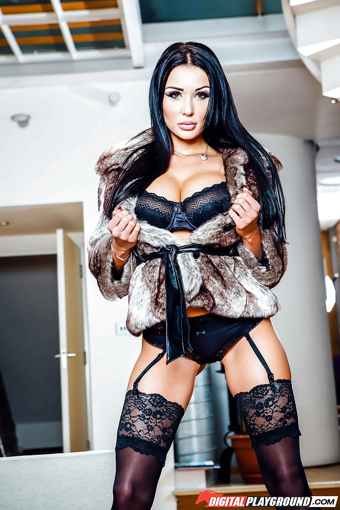 Brunette solo model patty michova strutting in stockings and lingerie combo