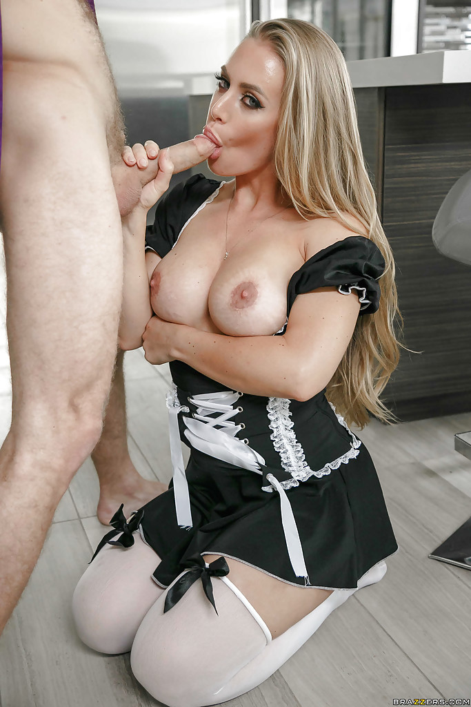 Blonde maid with huge tits