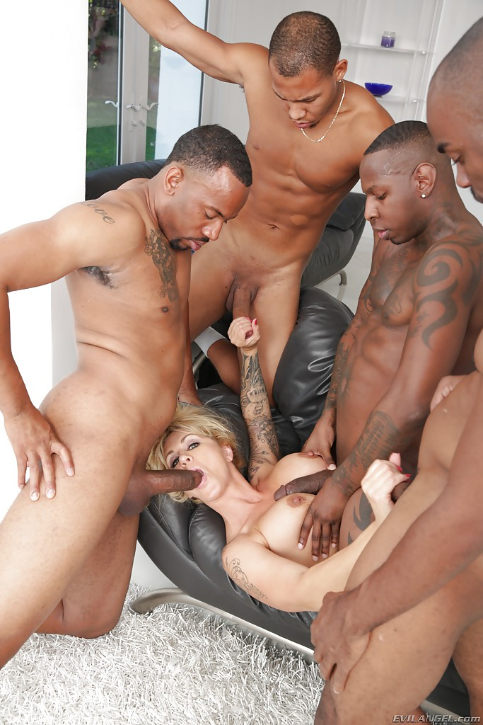 ... Mature blonde lady Ryan Conner undergoes interracial gangbang and  blowbang ...