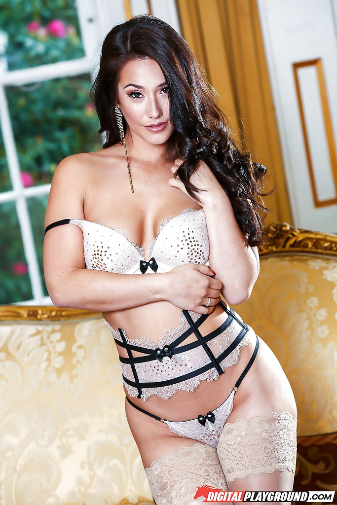 Mexican Porn Stockings - ... Mexican brunette Eva Lovia modeling in sexy stockings and lingerie ...