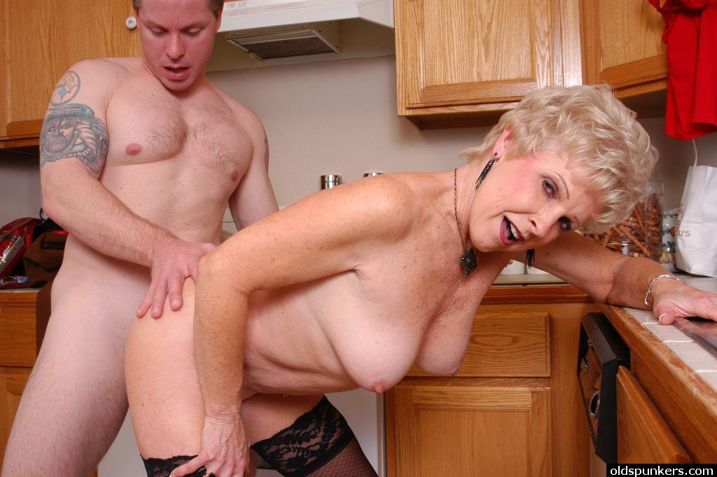 With you Granny fuck in kitchen