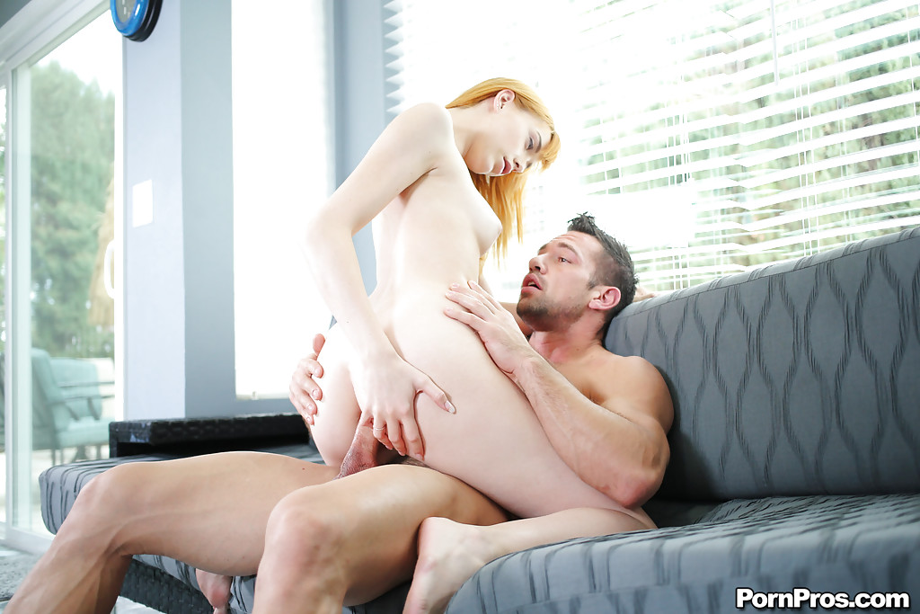 Ex redhead girlfriend Anny Aurora receiving anal penetration and cum in mouth