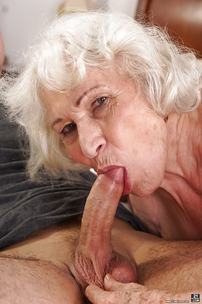 Gray hair granny sucking cock