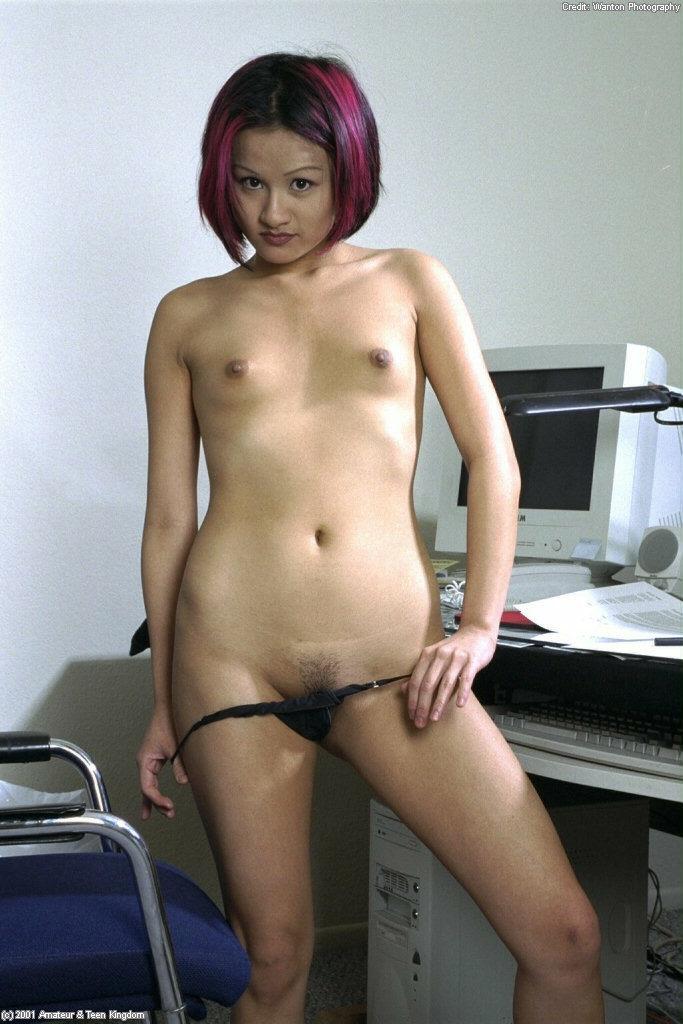 ... Asian amateur Jade undressing in home office for pegging of trimmed  muff ...