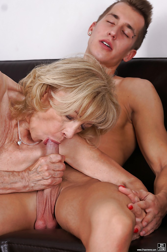 Handsome milf and hung young stud have a fuck session