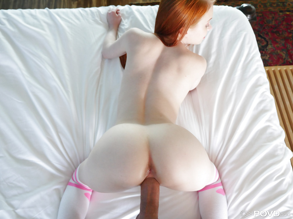 Business. Naked redhead in knee socks