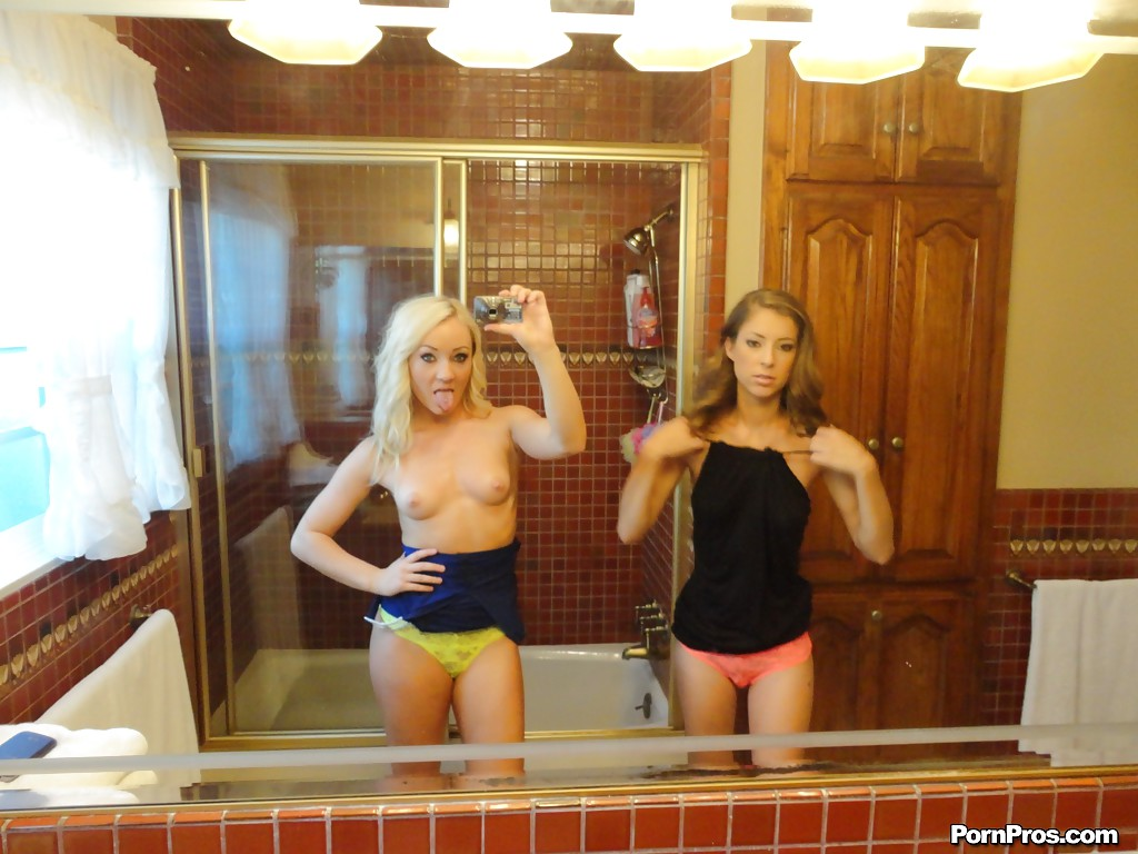 Group selfie naked mirror
