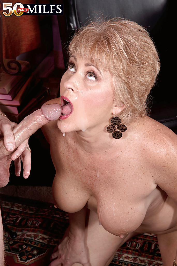 Blonde milf takes cum in her mouth after getting ass banged 4
