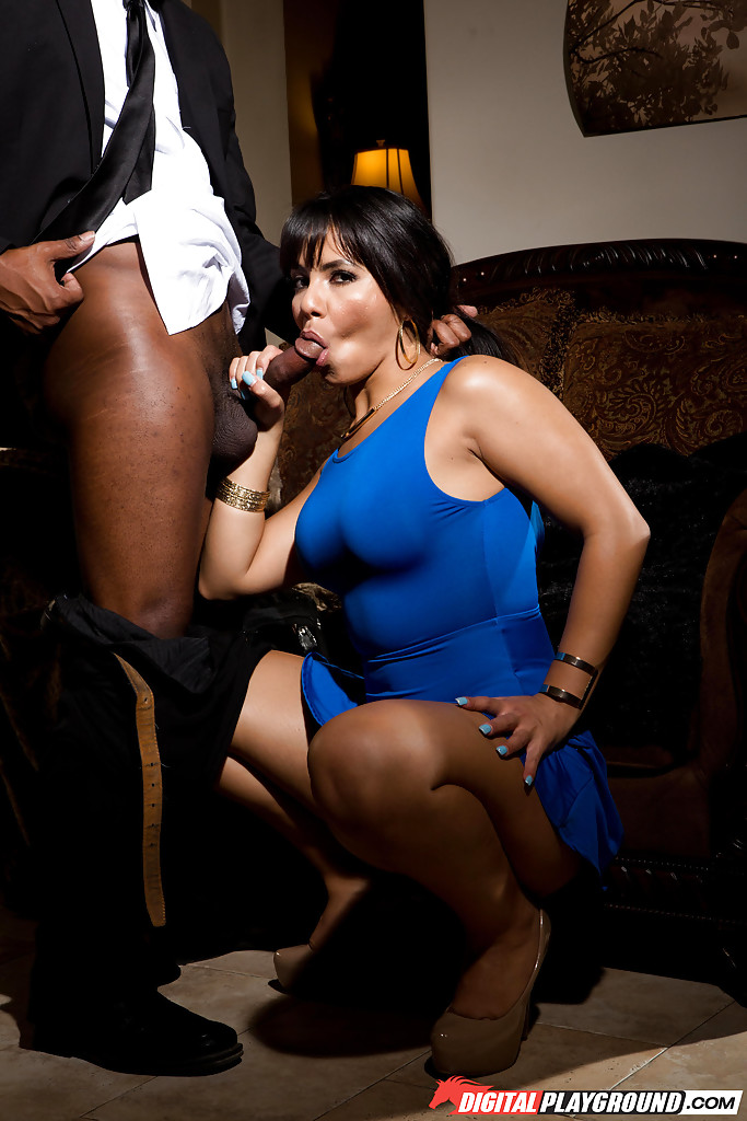 interracial porn blue dress - ... Brunette in blue skirt Rose Monroe takes black cock in mouth and in  bald cunt ...