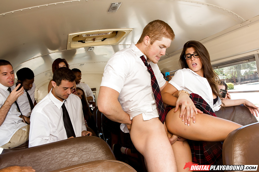 Girls having sex on the bus