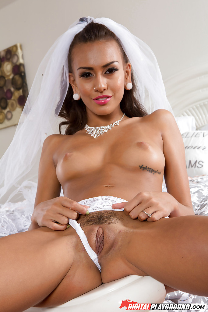 Teen bride janice griffith removing wedding dress before masturbating on bed
