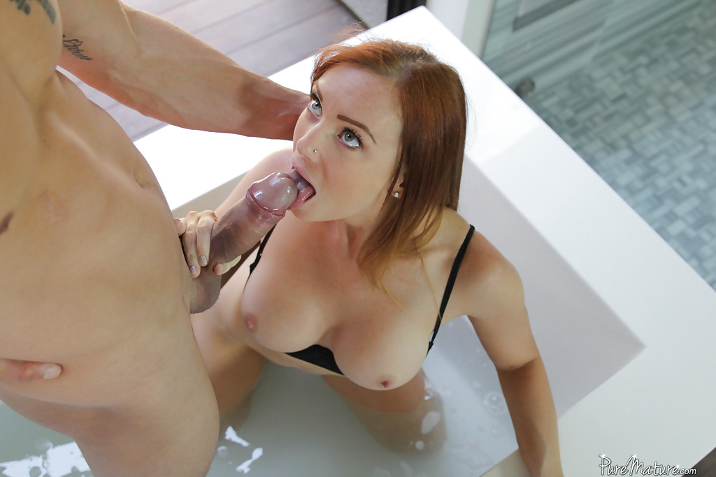 Well redhead blowjob photo on her knees speaking