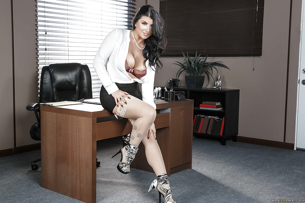 Office worker romi rain showing off hooters after-4859