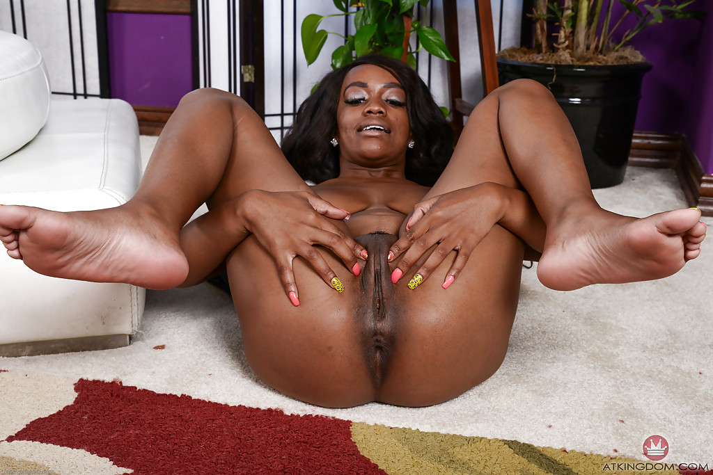 Black amateur Amber Cream showing off big boobs and pink snatch