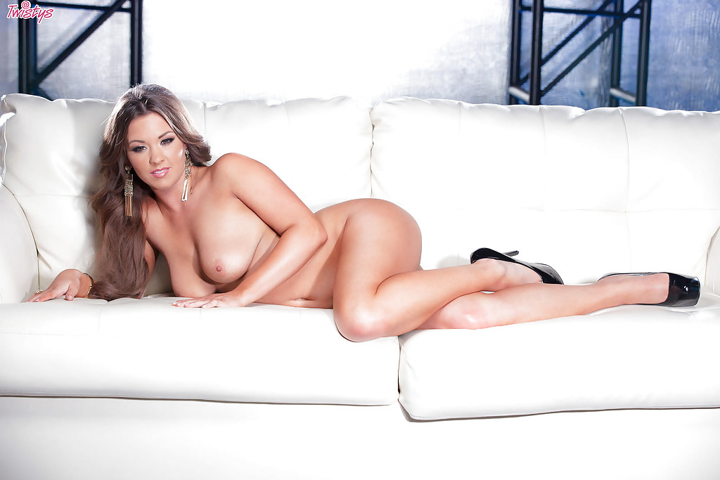 Busty Alice Lighthouse loves to pose naked and touch her pussy