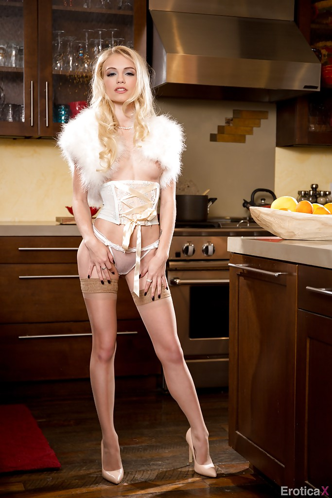 Alex Grey Porn Kinky - ... Skinny pornstar Alex Grey strutting in kitchen wearing boa and tan  stockings ...