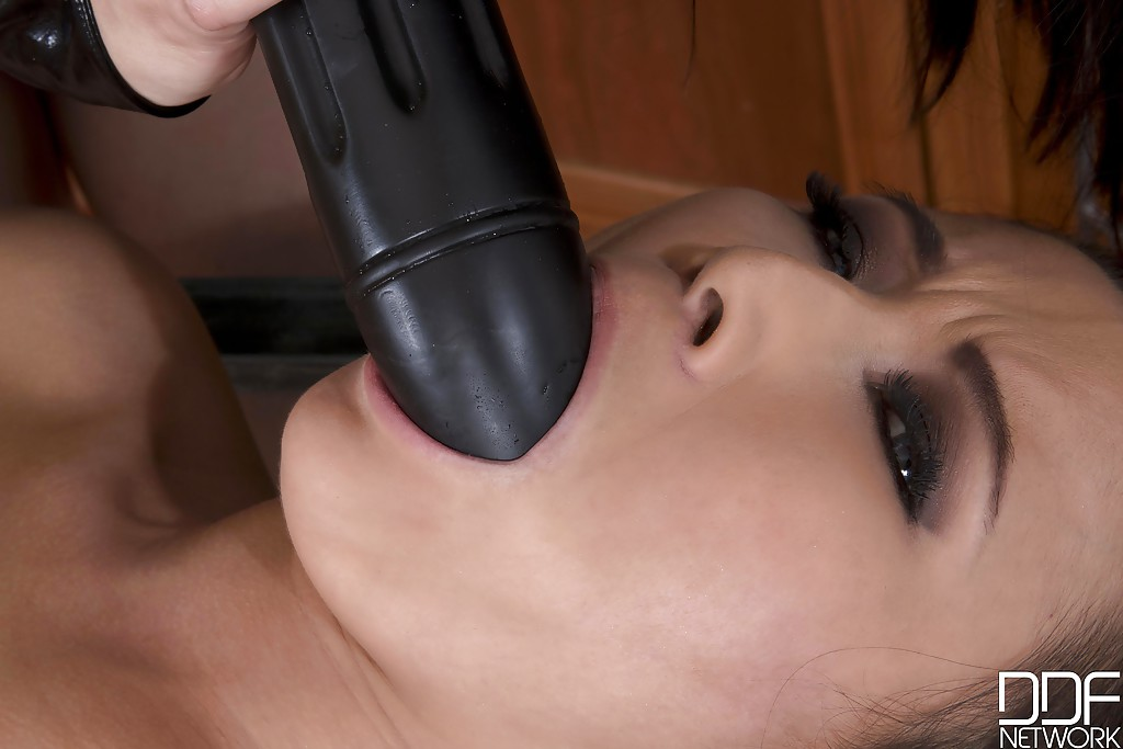 Lesbians Cristine Akira Lee and Brandy Smile have rough sex on kitchen table