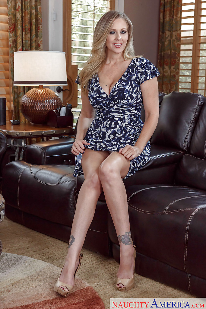 Leggy MILF Julia Ann flashing upskirt panties before letting big ...